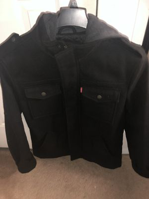 Levis wool military jacket with hood for Sale in Berkeley Township, NJ