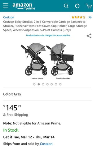 Costway 2 In1 Foldable Baby Stroller Kids Travel Newborn Infant Buggy for Sale in West Springfield, VA