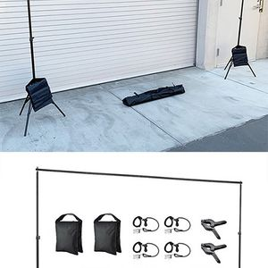 (NEW) $35 Backdrop Stand Photography Background w/ Clips, Carry & Sand Bag (Adjustable 6.5' tall x 10' wide) for Sale in El Monte, CA