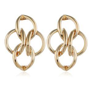 GOLD UNIQUE GEOMETRIC HOOP BRAIDED DIAMONDS STUD EARRINGS for Sale in Macomb, MI