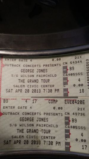 Last concert in Salem Virginia George Jones The Grand Tour never used for Sale in Vinton, VA