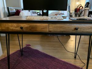 Wood Desk with Mid Century Modern / Industrial Matte Black Metal Accents for Sale in Seattle, WA