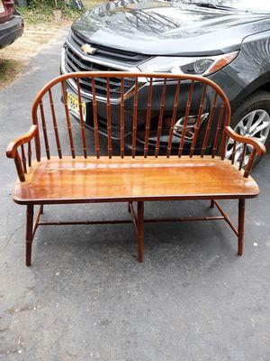 Antique Vintage American Drew Furniture Windsor Bench Oak Wood Loce Seat For Used