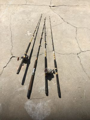 Four fishing rods and two old reels for Sale in View Park-Windsor Hills, CA