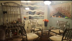 SALE/ Dinning set silver metal table/ Nice Bar included for Sale in Springfield, VA