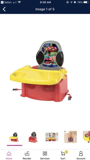 BABY BOOSTER HIGH CHAIR FEEDING SEAT DISNEY CARS PIXAR for Sale in Reno, NV