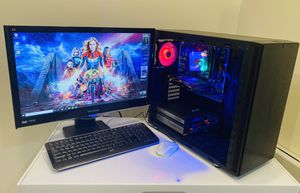 """NEW 6th Gen HP Gaming PC 4 Core I5 @3.2GHz, 4 Display Ready. RADEON RX 460 4G, 128GB SSD/500G HDD, 8GB DDR4, 8USB, WIFI, 24"""" Monit/Keyb/Mou. Win10 Pro for Sale in Fort Lauderdale, FL"""