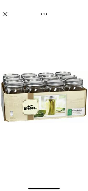Kerr Wide Mouth Quart Canning Mason Jars, Lids & Bands Clear Glass, 32 Oz, 12 Pk for Sale in Los Angeles, CA