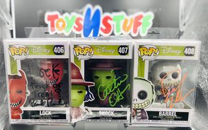 FUNKO POP! - AUTOGRAPHED LOCK#406 SHOCK#407 & BARREL#408 NIGHTMARE BEFORE CHRISTMAS SET! for Sale in Denver, CO