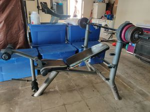 Bench press and leg workout, with BAR**(Weights Not Included) for Sale in Highland, CA