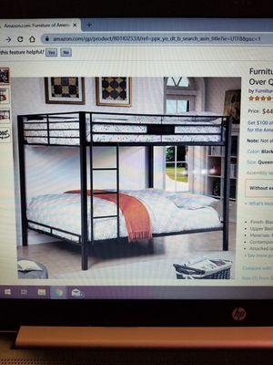 Queen over queen black metal frame bunk bed best offer for Sale in Grants Pass, OR