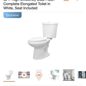 Glacier Bay 2-piece 1.1 GPF/1.6 GPF High Efficiency Dual Flush Complete Elongated Toilet in White, Seat Included for Sale in Bell Gardens, CA
