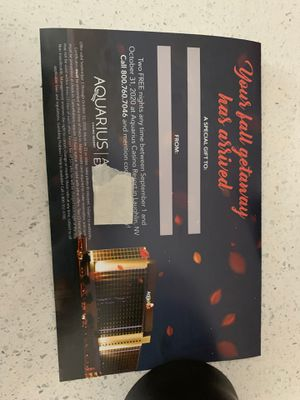 Voucher for two nights at the Aquarius Laughlin Nevada for Sale in Corona, CA