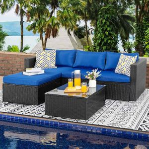 Patio Table & Pool Chairs Wicker Furniture Outdoor Rattan Sofa Garden Conversation Backyard Set (Navy Blue) for Sale in Playa del Rey, CA