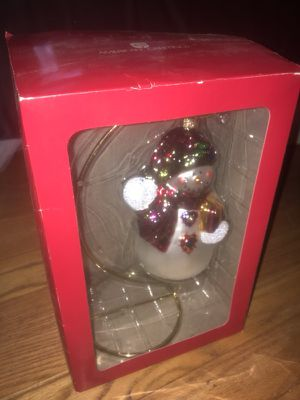 New! Beautiful Snowman Glass Ornament with Stand! Great Gift! for Sale in Woodbridge, CT