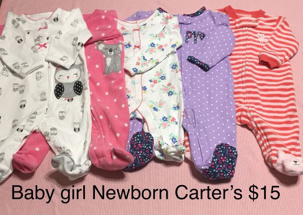 75beb70a442a Baby girl Newborn clothes pajamas Carter's for Sale in Dallas, TX ...