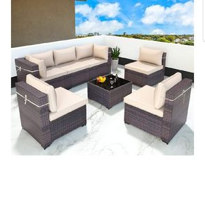 Gotland All-Weather 7 Pieces Patio Sofa Rattan Outdoor Furniture Sets for Sale in Walnut, CA