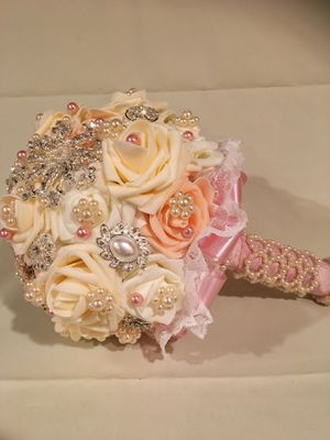 Rose Flower Wedding Bouquet Brooch Crystal Pearls for Sale in Severn, MD