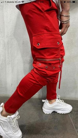 Red cargo jogger style pants premium collection store pick up for Sale in Los Angeles, CA