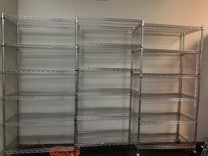 3 Metal Racks connected/ 6 Shelves each Storage for Sale in Miami, FL