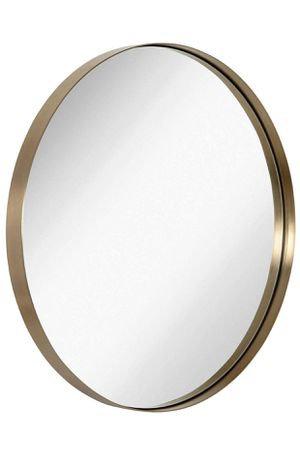 "Hamilton Hills Contemporary Brushed Metal Gold Wall Mirror | Glass Panel Gold Framed Rounded Circle Deep Set Design (30"" Round) for Sale in Pawtucket, RI"