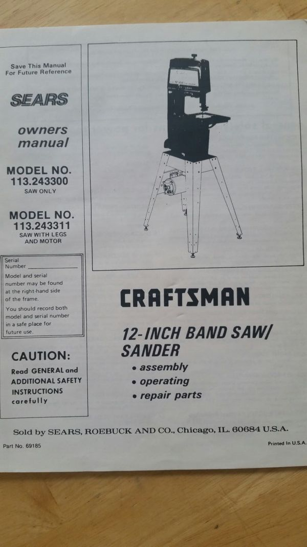 VINTAGE SEARS CRAFTSMAN 12 INCH BELT DRIVEN BAND SAW & SANDER for Sale in  Baltimore, MD - OfferUp