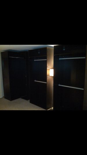 Closet, armoire custom - more accessories available. 7 separate closets. PAX black storage for Sale in Los Angeles, CA