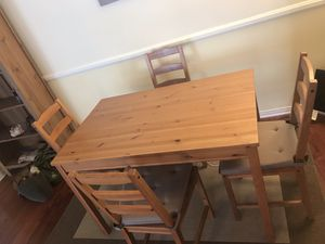 Wooden table plus 4 chairs for Sale in Los Angeles, CA