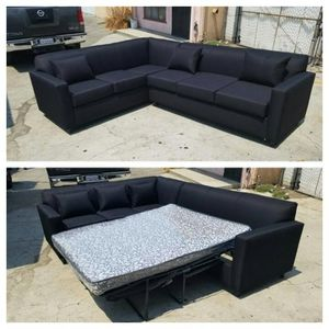 NEW 7X9FT DOMINO BLACK FABRIC SECTIONAL WITH SLEEPER COUCHES for Sale in Las Vegas, NV