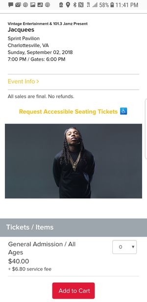 2 tickets to see Jacquees for Sunday at 6 for Sale in Washington, DC