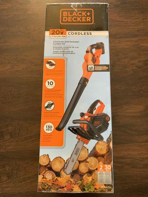 Black and Decker 20 Volt Lithum Ion Cordless Chan Saw and Blower with 2 batteries and 1 Changer for Sale in Port Richey, FL