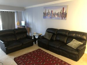3+2 recliner couch, original leather for Sale in Bailey's Crossroads, VA