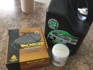 Auto Parts, set of Monroe Ceramics Premium Brake Pads, 5QT Green 5W-30 motor Oil & PurePro Oil Filter, Toyota Hyundai for Sale in Gilbert, AZ