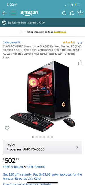 CYBERPOWERPC Gamer Ultra GUA883 Desktop Gaming PC (AMD FX-6300 3.5GHz, 8GB DDR3, AMD R7 240 2GB, 1TB HDD, 802.11 AC WiFi Adapter, Gaming Keyboard/Mou for Sale in Spring, TX