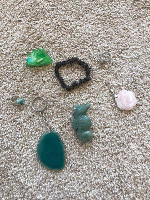 Lot of gemstones crystals seahorse bracelet rose ring for Sale in Reston, VA