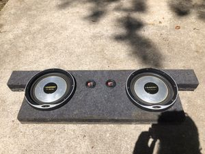 Blaupunkt shallow subwoofers w/ Enclosure & Crunch amplifier for Sale in Austin, TX