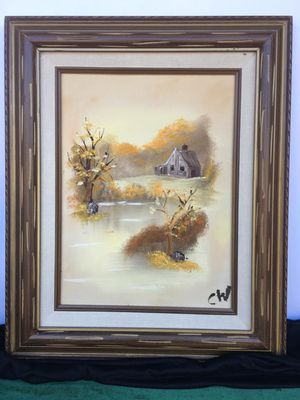 Beautiful wood framed oil painting signed CW Vintage piece of art H17xW14 inch for Sale in Chandler, AZ