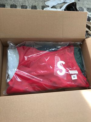 SUPREME S LOGO HOODIE RED COLORBLOCKED for Sale in Tampa, FL