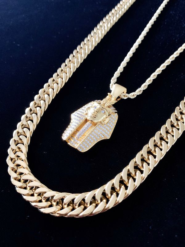 ⭐️ HAPPY VALENTINES DAY PERFECT GIFT!! ⭐️ PHARAOH FULL DIAMONDS CZ 18K GOLD CHAIN MADE IN ITALY