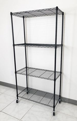 "(New in box) $50 Metal 4-Shelf Shelving Storage Unit Wire Organizer Rack Adjustable w/ Wheel Casters 30x14x61"" for Sale in Whittier, CA"
