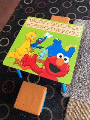 Sesame Street Elmo wood table and 2 soft cushion chairs good used condition for Sale in Las Vegas, NV