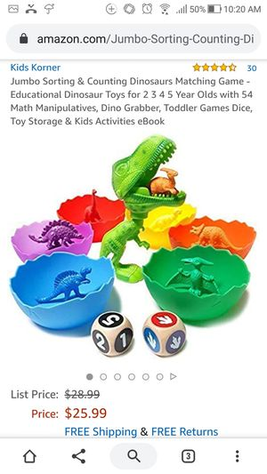 Counting Dinosaurs Matching Game for Sale in Brooklyn, NY
