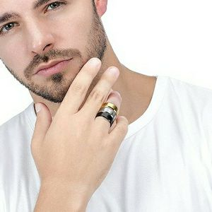 3 piece Set Stainless Steel Rings for Men, Gold Silver Black Rings for Sale in Brea, CA