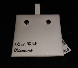 1/2 CT. T.W. 14 k WG black diamond earrings for Sale in Boise, ID