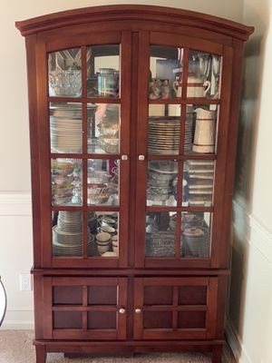 Dining hutch / china cabinet. Walnut color. Solid wood. Glass shelves, doors and side inserts. for Sale in Covington, WA