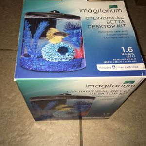 Imagination Cylindrical Betta Fish Desktop Tank Kit, 1.6 Gal. Open Box. for Sale in Lakeland, FL