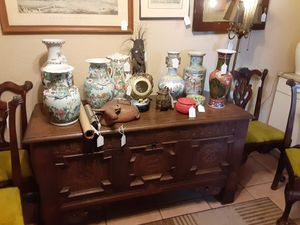 Antique chest 1756, Chippendale chairs, lots of antique Chinese, Asian vases, etc for Sale in Oro Valley, AZ