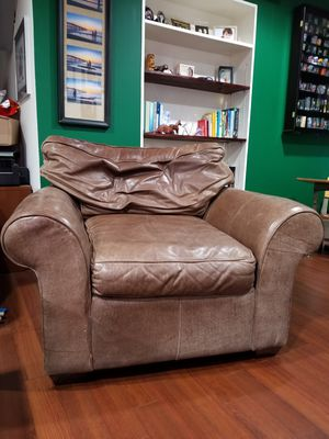 Ethan Allen brown leather chair & ottoman for Sale in Silver Spring, MD