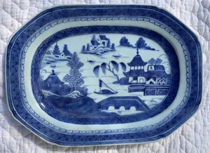 "11"" Antique Canton Serving Platter Traditional Chinese Landscape for Sale in Falls Village, CT"