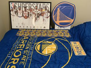 Golden state warriors twin comforter. Wall decal and curtain for Sale in Orlando, FL